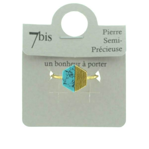 870252TURDOR Bague Hexagone Turquoise Doré Métal Et Pierre Turquoise