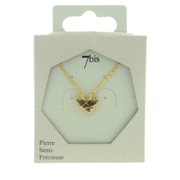 170467VIODOR Collier Pierre Emprisonnée Violette Triangle Améthyste