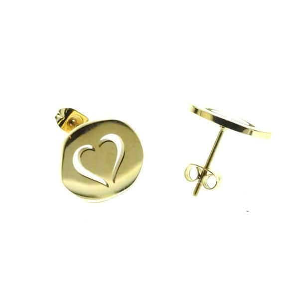 270229DORINX Boucles D'oreilles Médaille Doré Cœur Percé Acier Inoxydable