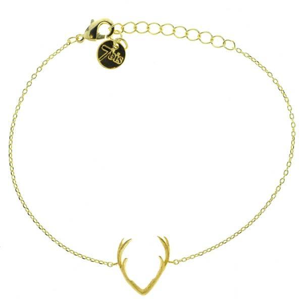 323800DOR Bracelet Corne De Cerf Doré Relief Minimaliste
