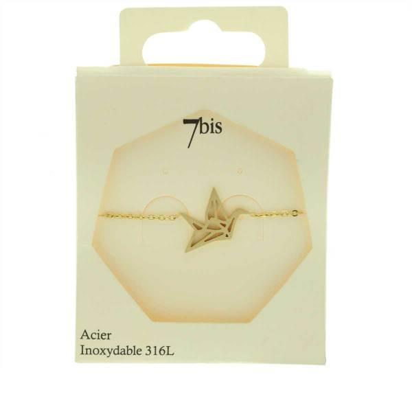 338183DORINX Bracelet Grue Doré Géométrique Acier Inoxydable