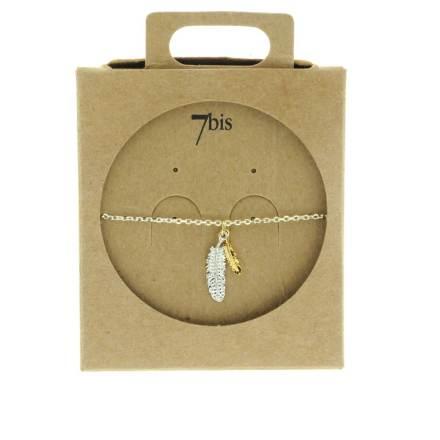 338243ARG Bracelet Double-plume Argent Bicolore Fine