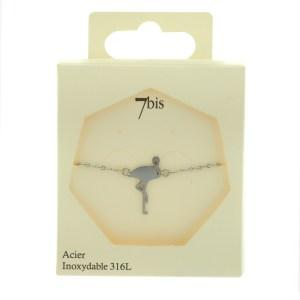 338534ARGINX Bracelet Flamant Rose Argenté Design Plat Acier Inoxydable