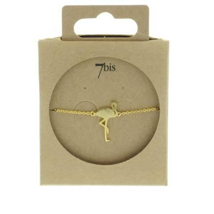 338534DOR Bracelet Flamant Rose Doré Design Plat