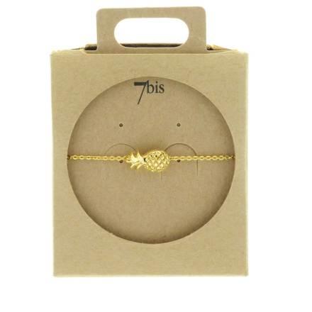 338735DOR Bracelet Ananas Doré Fruit-relief Ludique