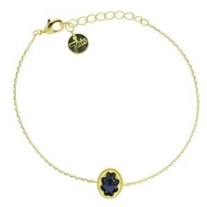 370061BLEDOR Bracelet Pierre Ovale Bleue Médaillon Lapis-lazuli
