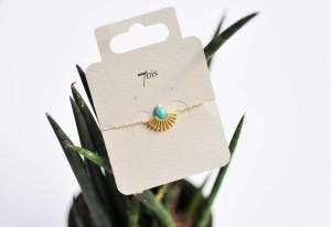 370065TURDOR Bracelet Goutte Doré Silhouette Paon Turquoise