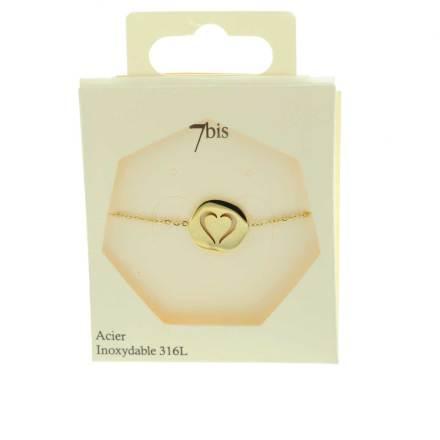 370229DORINX Bracelet Médaille Doré Cœur Percé Acier Inoxydable