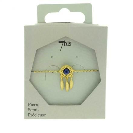 370559BLEDOR Bracelet Dreamcatch Doré 3 Plumes Articulées Lapis-lazuli
