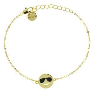 370624DOR Bracelet Star Doré Ajouré Émail Lunette Noire