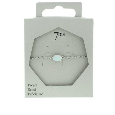 371156BLAARG Bracelet Opale Ovale Blanche Serti Griffe Argenté