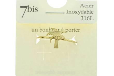 870291DORINX Bague Cocotier Doré Gravé Acier 316l