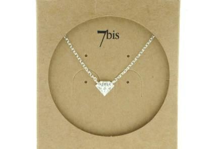 129460ARG Collier Diamant Argenté Relief Zircon
