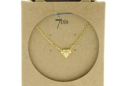 129460DOR Collier Diamant Doré Relief Zircon