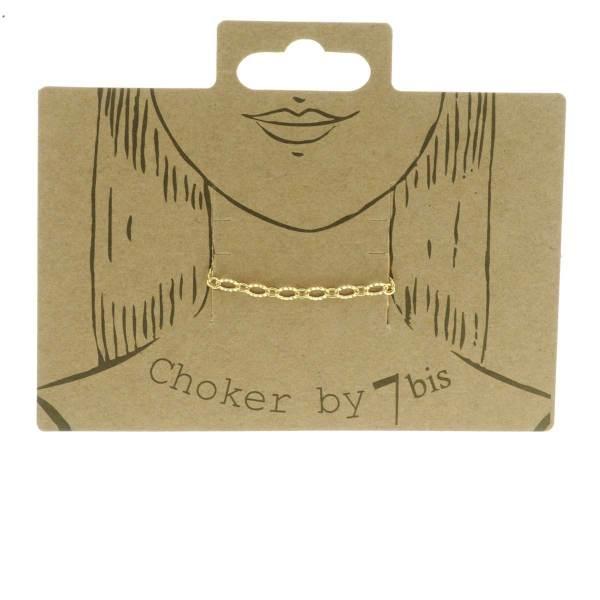 171026DOR Choker Petites Mailles Ovales Doré Striées 28cm