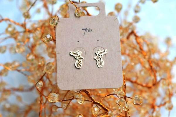 237695DOR Boucles D'oreilles Cerf Doré Tête-animal Géométrique