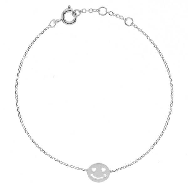 329456ARG Bracelet Smile Argenté Strass Emoji