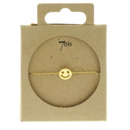 329456DOR Bracelet Smile Doré Strass Emoji