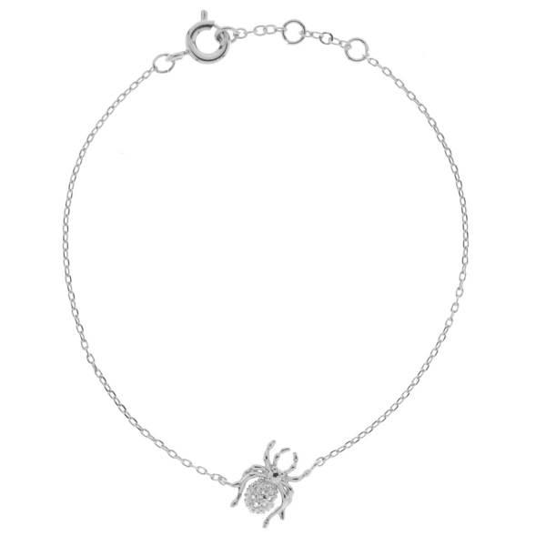 329458ARG Bracelet Araignée Argenté Design Joaillarie Strass