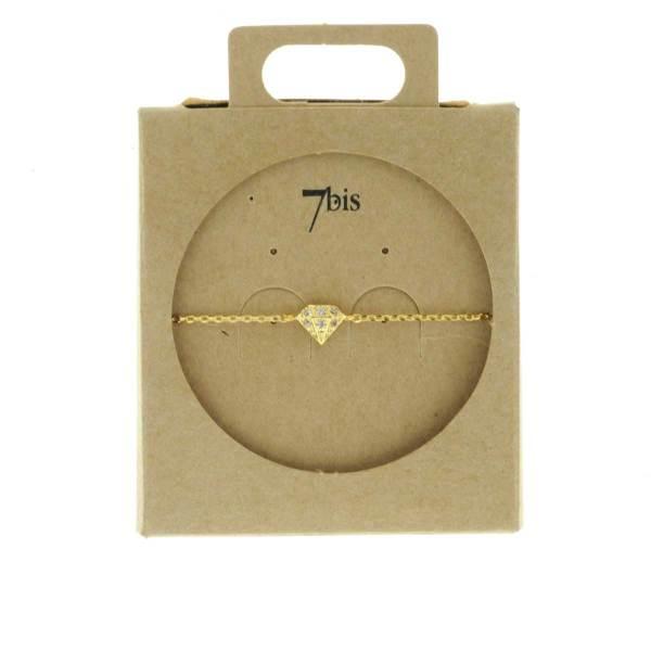 329460DOR Bracelet Diamant Doré Relief Zircon