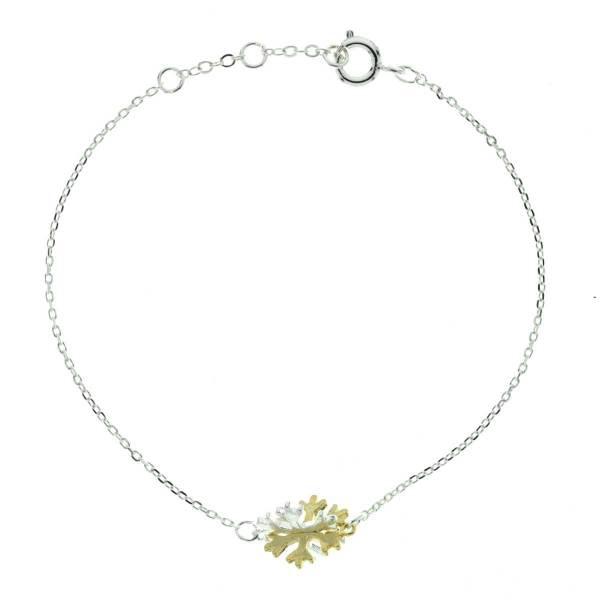 329461ARG Bracelet Flocon-de-neige Argenté Bicolore 3d Poetique