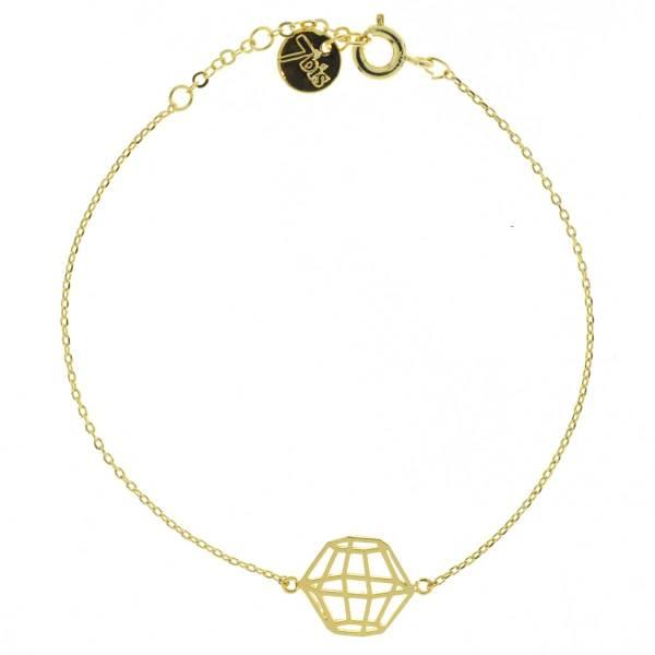 337551DOR Bracelet Polygone Doré Cage Géométrique