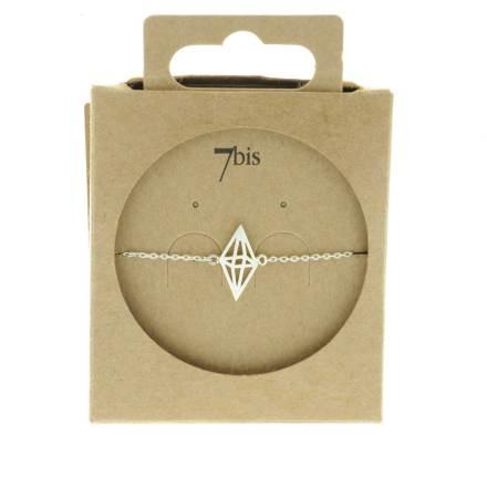 337552ARG Bracelet Losange Perspective Argenté Double Pyramide Géométrique