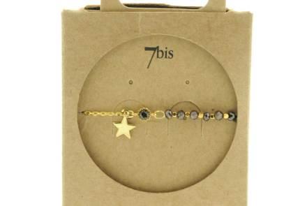 370249HEM Bracelet Moitié Chaîne Doré Perle De Verres Facetées Et Petite Étoile