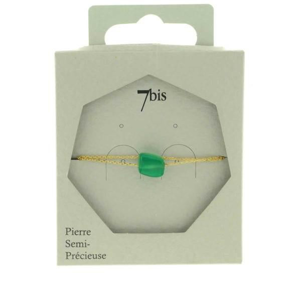 370565VER Bracelet Pierre Irrégulière Doré Vert Chaîne Double Fine Pierre Naturelle
