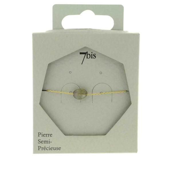 370874GRI Bracelet Ovale Facetté Doré Gris Chaîne Fine Pierre Naturelle