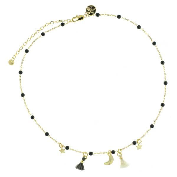170886NOI Ras-de-cou Pompon Noir Étoile Lune Et Perles