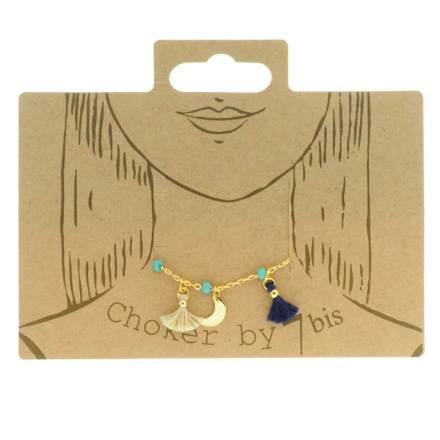 170886TUR Ras-de-cou Pompon Turquoise Étoile Lune Et Perles