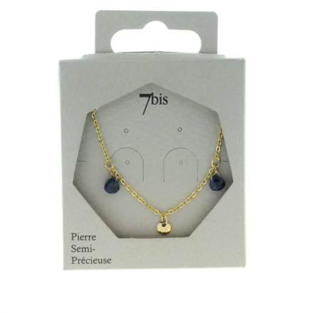 171277BLE Collier Pampille Bleu Goutte Précieuse
