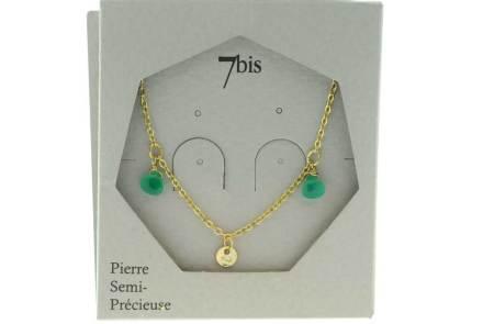 171277VER Collier Pampille Vert Goutte Précieuse