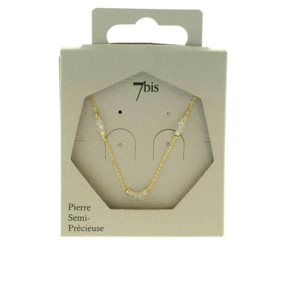 171280BEI Collier Perle Beige Perle Facette