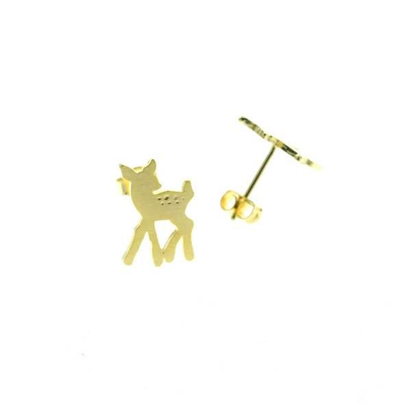 229348DOR Boucles D'oreilles Faon Doré Bambi Gravé