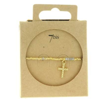 371275GRI Bracelet Élastique Doré Gris Pendentif Croix Pierre Bille Métal