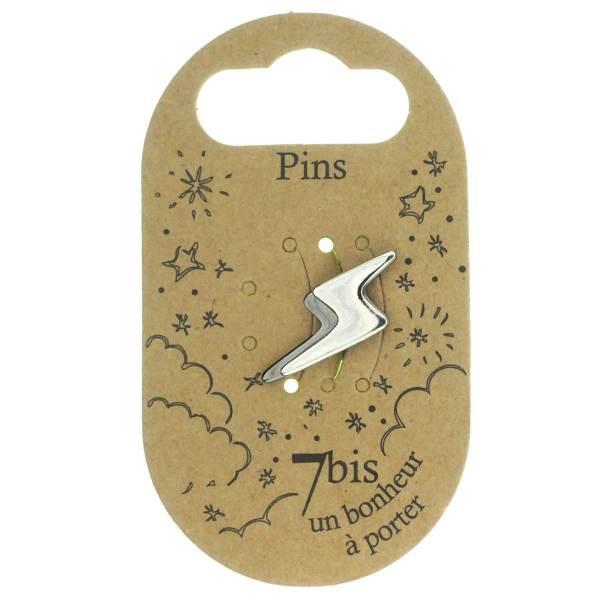 971262ARGGUN Pin's Éclaire Argenté Noir Bicolore Design