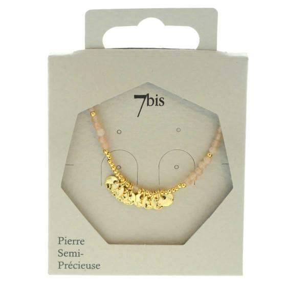 171310PEC Collier 45 Cm Aventurine Perle Facette Pastille Doré Martelée Délicat