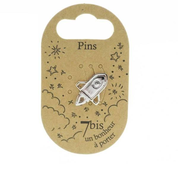 971331ARG Pin's Argenté Fusée Graphique Art