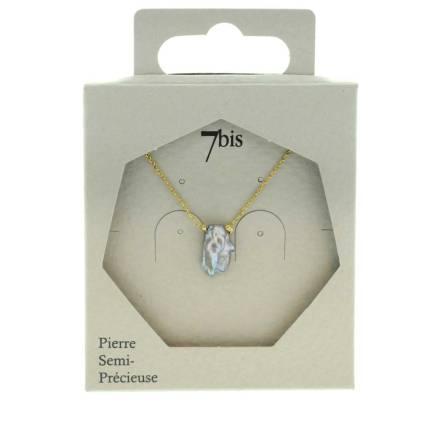 171314GRI Collier Perle D'eau Douce Gris Irrégulière Unique