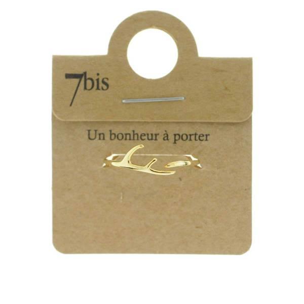871364DOR Bague Bois De Cerf Doré Fin Délicat