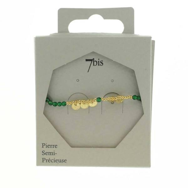 371310VER Bracelet Agate Perle Facette Pastille Doré Martelée Délicat