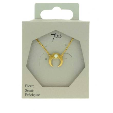 171155BLADOR Collier Croissant De Lune Doré Pierre Semi-précieuse Opale Ronde