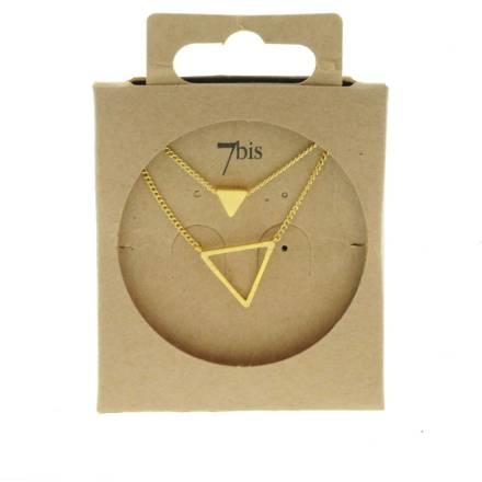 170265DOR Collier Triangle Doré Double Plein Et Vide