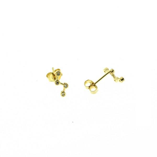 270609DOR Boucles D'oreilles Étoile Doré Constellation Strass