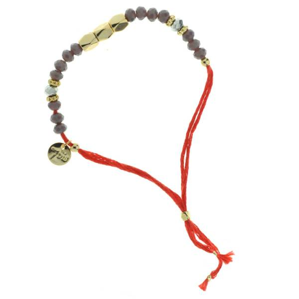 330011A Bracelet simple rouge gris perles ajustable collection autres 7bis