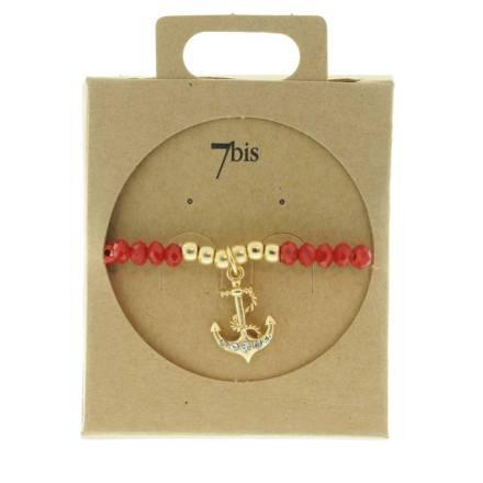 330013C bracelet encre dore rouge perles elastiques collection autres 7bis