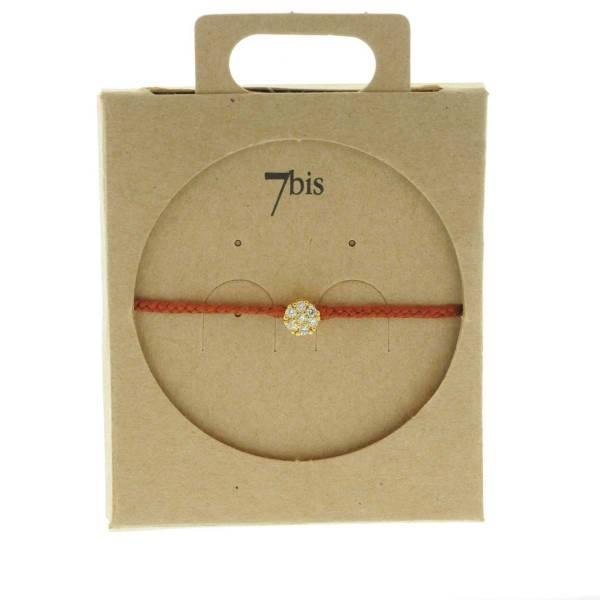 330013D Bracelet simple dore marron strass coton ajustable collection intemporelles 7bis