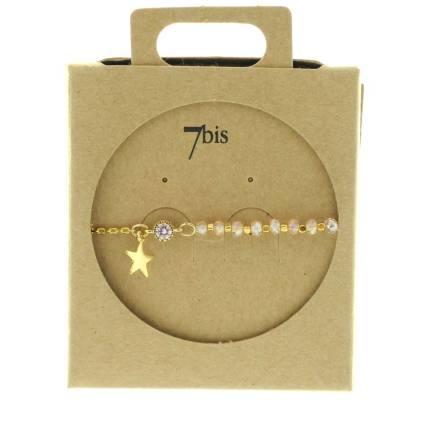 370249ROSCLA Bracelet Moitié Chaîne Doré Rose Claire Perle De Verres Facetées Et Petite Étoile
